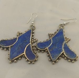 Exotic lapis inlay lotus blossom earrings